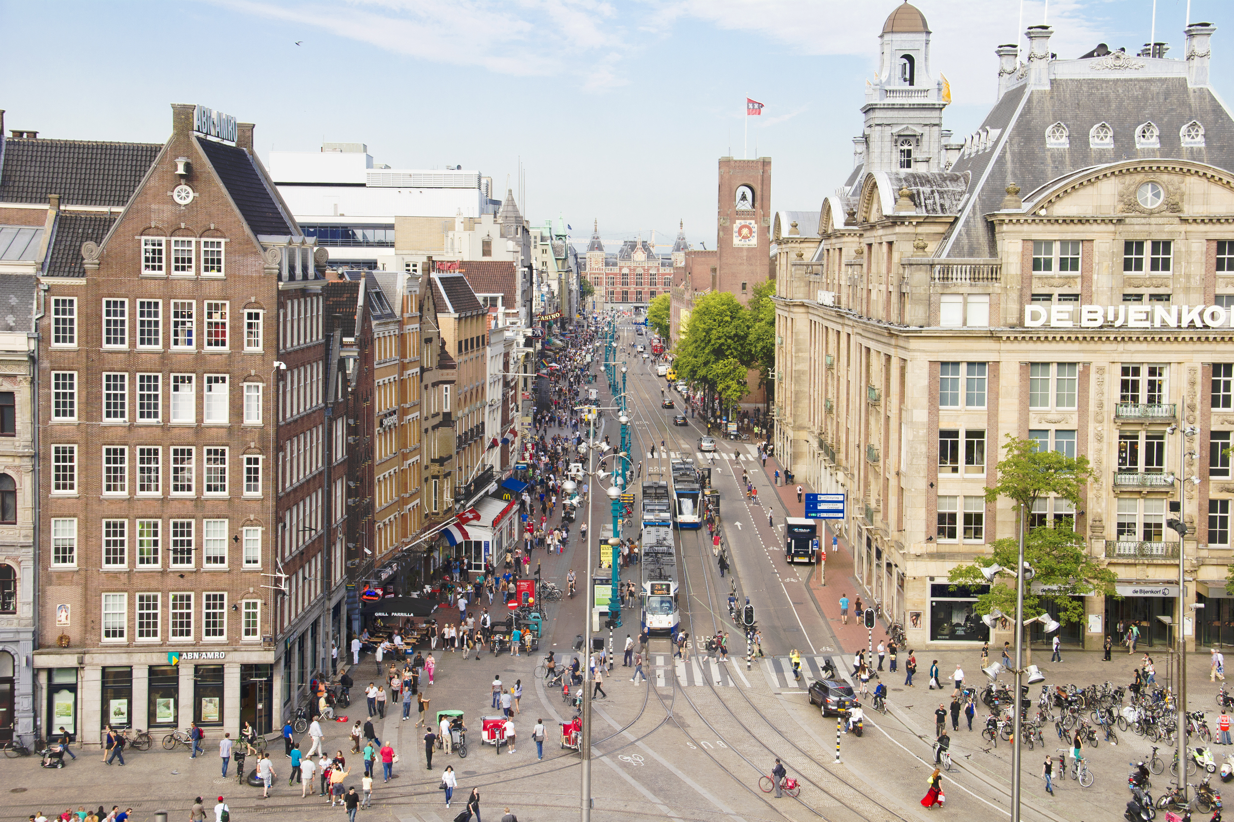People walking on the Dam square in Amsterdam